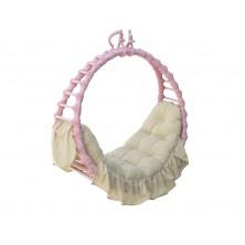 Hamak wiklinowy różowy z poduszką