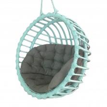 Fotel wiszący wiklinowy kula turkusowy + poduszka