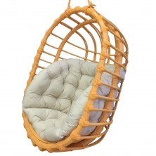 Wiszący fotel wiklinowy owal pomarańczowy + poduszka