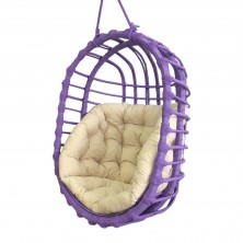 Fotel wiszący z wikliny fioletowy owal + poduszka