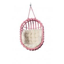 Fotel wiszący z wikliny różowy owal + poduszka