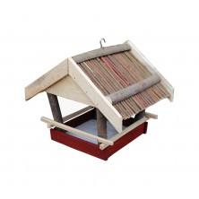 Karmnik dla ptaków drewniany z wikliną 06