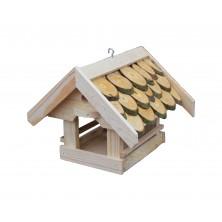 Karmnik dla ptaków z dachem brzozowym 08