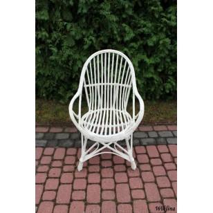 Fotel wiklinowy z oparciem biały