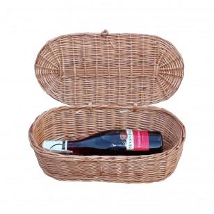 Skrzynka na wino z wikliny na prezent