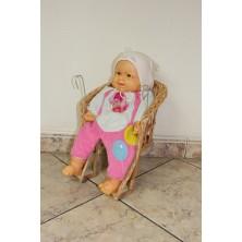 Fotelik dla lalek na rower z wikliny