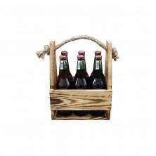 Nosidełko na piwo drewniane przypalane ze sznurem