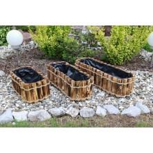 Komplet doniczki drewniane przypalane 3 sztuki