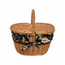 Kosz piknikowy wiklinowy z wkładem zieleni