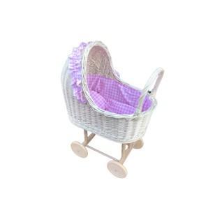 Wózek wiklinowy dla lalek róż w białe kropki Exclusive
