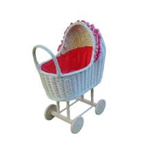 Biały wózek wiklinowy dla lalek czerwony w białe kropki Exclusive