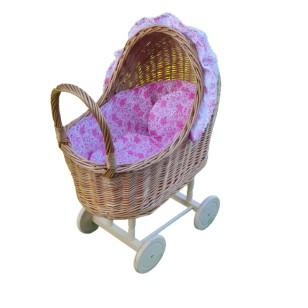 Wózek wiklinowy dla lalek róż w kwiaty Exclusive