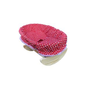 Wiklinowa kołyska dla lalek - czerwona w serca