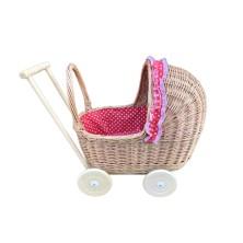 Wózek wiklinowy dla lalek drewniane podwozie czerwony w serca