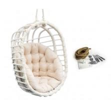 Fotel bujany wiszący owal biały + mocowanie sufitowe + poduszka