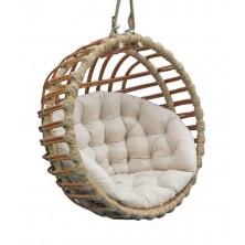 Fotel wiszący ogrodowy kula brąz + poduszka 01