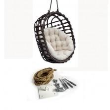 Fotel wiszący bujany owal czarny + mocowanie sufitowe + poduszka