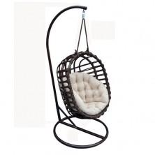 Fotel bujany wiszący czarny owal + stelaż stojący + poduszka