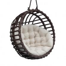 Fotel wiszący wiklinowy kula czarny + poduszka