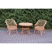 Dwa fotele wiklinowe Regan 01 + stolik wiklinowy okrągły