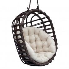 Fotel wiszący z wikliny owal czarny + poduszka