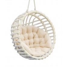 Fotel wiszący wiklinowy kula biały + poduszka