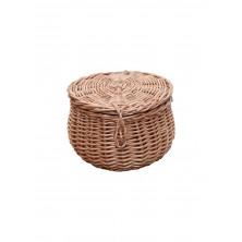 Szkatułka wiklinowa okrągła z pokrywą fi 12 cm