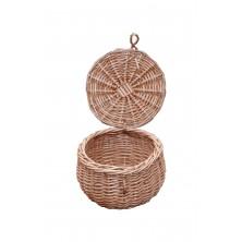 Szkatułka wiklinowa okrągła z pokrywą fi 14 cm